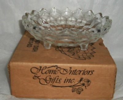 CLEAR PRESSED GLASS HOMCO PEDESTAL CANDY DISH NIB HOME INTERIOR  #8813-BD