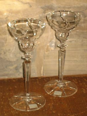 "Mikasa 8 1/2"" Clear Crystal Candlesticks made in Yugoslavia w/ labels"