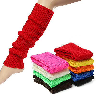 Fashion Women's Crochet Knit Solid Color Winter Wool Leg Warmers Socks US