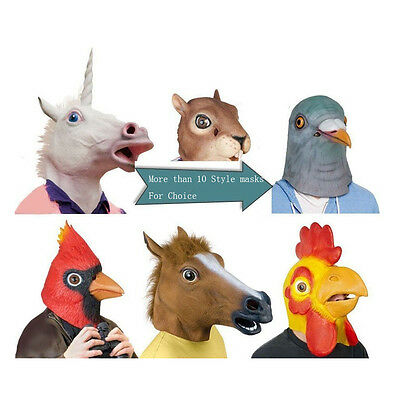 Latex Horse Head Mask Unicorn Pigeon Chicken Rabbit Halloween Party US Shipping