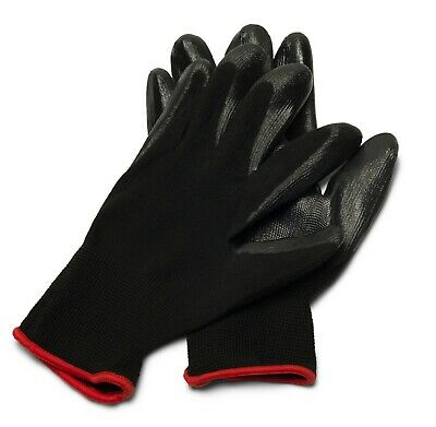 Black Nitrile Dipped Nylon Work Gloves Sizes: Small, Medium, Large & X-Large