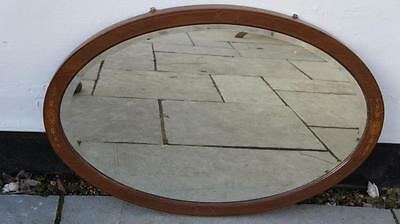 Edwardian Mahogany  inlaid, overmantle, bevel edged mirror 83 cm x 57 cm- VGC