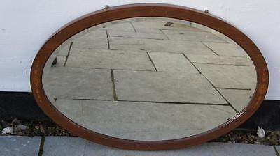 Edwardian oval, mahogany, inlaid, overmantel, hall,  bevel edged mirror - VGC