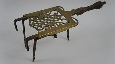 Antique  decorative steel/brass adjustable hanging trivet  for hanging on grate