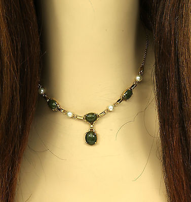 BEAUTIFUL 14K YELLOW GOLD, JADE & PEARLS LADIES STYLISH COCKTAIL NECKLACE