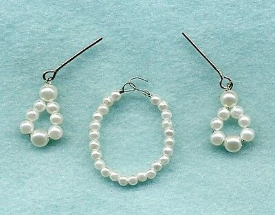 Barbie Doll Jewelry - All White Pearl Choker Necklace W/ Earrings - Linhill