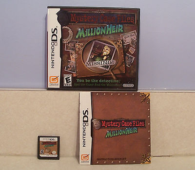 Mystery Case Files: MillionHeir (Nintendo DS, 2008) Complete, Tested & Working