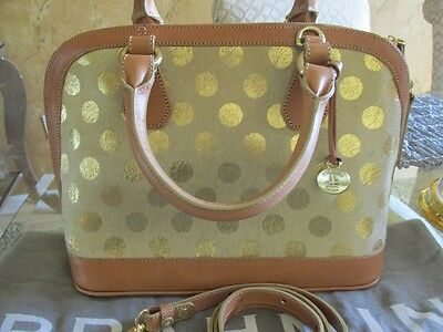 BRAHMIN VIVIAN GOLD LUNA POLKA DOT HAIR-ON/LEATHER SATCHEL BAG NEW CONDITION