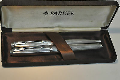Parker 75 Silver Plated Striped Fountain Pen & Ballpoint Set New In Box
