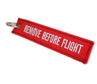 Red Woven Embroidery Linen Remove Before Flight Key Chain Luggage Tag Keyring