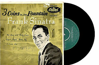 """FRANK SINATRA - THREE COINS IN THE FOUNTAIN - EP 7""""45 VINYL RECORD PIC SLV 1957"""