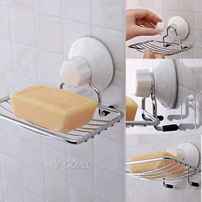 Strong Suction Bathroom Wall Soap Holder Shower Cup Stainless Dish Basket Tray