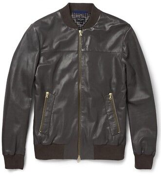 NWT $1,280 PS By Paul Smith Lambskin Leather Bomber Jacket in Gray sz S