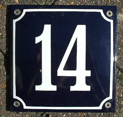 FRENCH ENAMEL HOUSE NUMBER SIGN. WHITE No.14 ON A BLUE BACKGROUND. 16x16cm.
