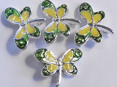4 - 2 HOLE SLIDER SPACER CONNECTOR BEADS GREEN & YELLOW ENAMEL WINGED DRAGONFLY