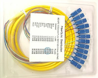 3M 12-fiber SC/UPC 9/125 Single-mode Ribbon Fan-out Fiber Optic Pigtail - 0.9mm