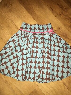 Mini Boden Turquoise/brown Love Heart Cotton Party Skirt Age 9-10 Years *L1