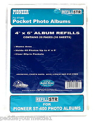 "Pioneer ST-400 Pocket Photo Album Refill STR 4"" x 6"" 20 Pages/10 Sheets NEW"