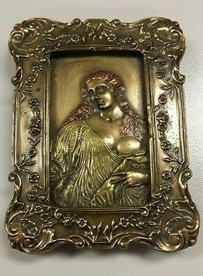 Giovanni Schoeman signed 1980 bronze & metal woman in a frame 3 inch high detail