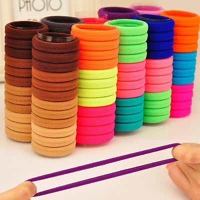 5/10/20Pcs Fluorescent Color Girl Elastic Hair Ties Band Rope Ponytail Bracelets