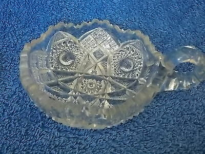 Vintage Antique Collectable Retro Cut Glass Lolly Bowl with Handle