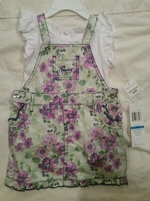 NWT, NEW! BABY GIRLS GUESS 2 PC. LOGO SHIRT, OVERALLS DRESS SET,SIZE 24M, FLORAL
