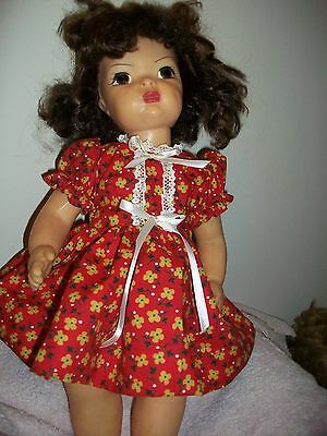 TERRY LEE DRESS ONLY     RED  PRINT cream trim  by Bettys handmade doll clothes
