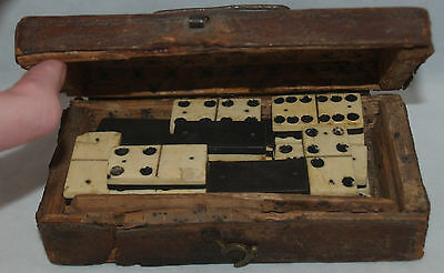 EARLY ANTIQUE BONE AND EBONY SET OF DOMINOS DOMINOES SMALL LEATHER COVERED BOX