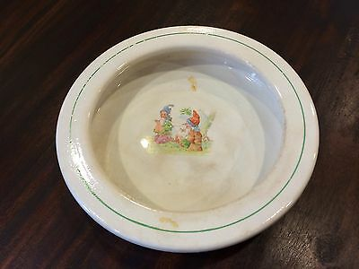 Old Antique Elpco Baby's Plate w/ Raised Lip & Gnome Motif