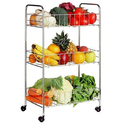 Premier Housewares 36X25X64Cm 3 Tier Kit Storage Cart Carrier Chrome Finish New