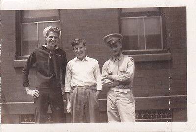 VINTAGE 1940'S B&W WWII US ARMY SOLDIER, NAVY SAILOR & BOY PHOTO