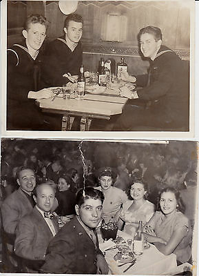 LOT OF 2 VINTAGE 1940'S WWII B&W US ARMY SOLDIERS NAVY IN RESTAURANT PHOTOS