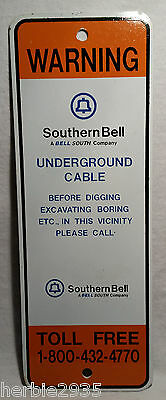 Vintage Southern Bell System BellSouthTelephone Underground Cable Sign!