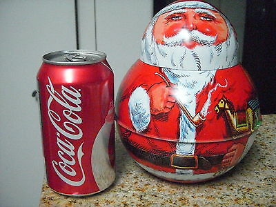 REDUCED-Perfect Vintage 1980 Roly Poly SANTA- Chien Industries-Repro Tobacco Tin