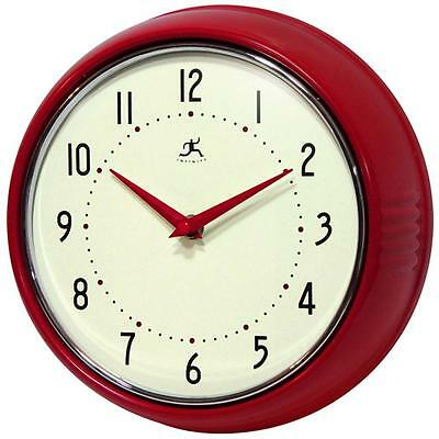 Infinity Instruments Retro 9-1/2-Inch Round Metal Wall Clock, Red Convex Glass