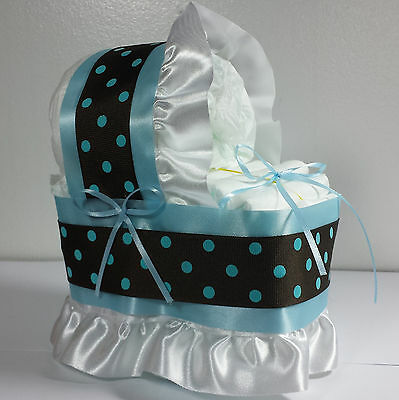 Diaper Cake Beautiful Bassinet Carriage Baby Shower Gift for Boys - Blue/Brown
