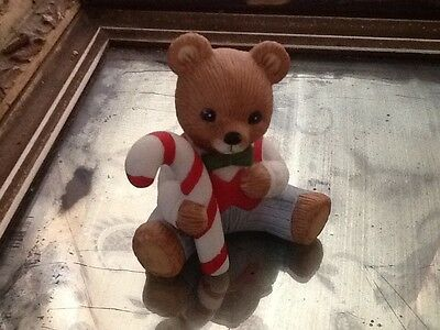 """HOMCO Home Interiors #5211 Boy with Candy Cane 2.5x3"""" Teddy Bear No chips"""