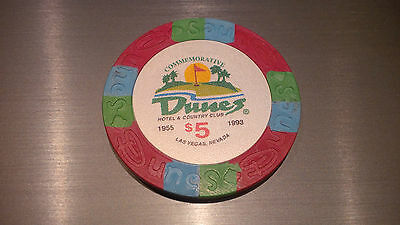 3 x $5 Dunes Commemorative Poker Chips Compression Molded / No Insert