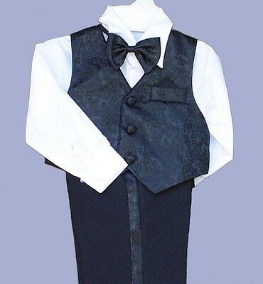 4PCS BOYS BLACK VEST PANTS SET WEDDING RING BOY BABY TODDLER BEARER SIZE 0 to 5