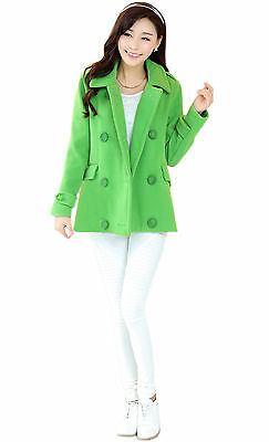 New Short Womens lapel Double Breasted Winter Wool Blend Collar Pea Jacket Coat