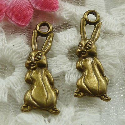 Free Ship 180 pieces bronze plated rabbit charms 26x10mm #1779