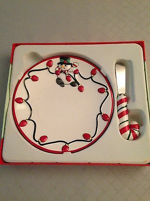 "Fitz and Floyd Holiday ""Cheers"" - Snack Plate with Spreader"
