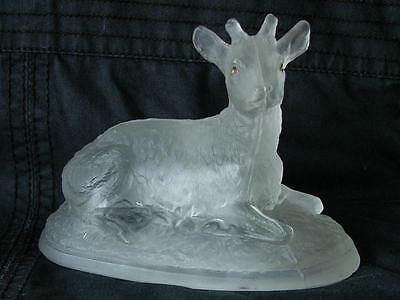 """ANTIQUE FRENCH BACCARAT FROSTED GLASS FIGURINE PAPERWEIGHT """"DEER"""""""
