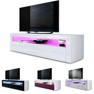 Tv Unit Stand Sideboard Led Valencia In White High Gloss Natural
