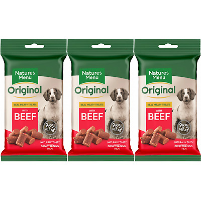 Natures Menu- 3 packs of Real Beef mini dog treats- Made with 95% REAL MEAT