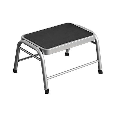 Premier Housewares Strong Silver Metal Step Stool With Durable Black Rubber Mat