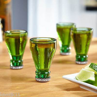 "NEW Set (4) Green Beer Bottle Glass 3"" SHOT GLASSES Luck Of Irish St Patricks!"