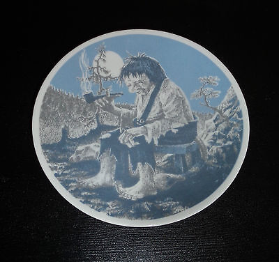 Vintage Wall Plate Porsgrund Norway Blue/White Smoking Troll Under Full Moon