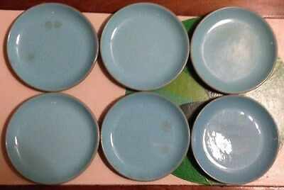 Set of 6 Harkerware Stone China Oven Proof Made in USA Small Plates