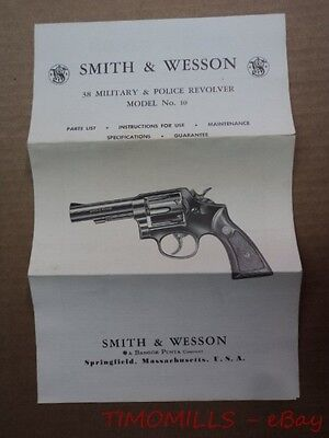 1967 Smith & Wesson Model No. 10 Police 38 Revolver Instruction Manual Vintage